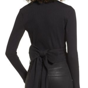 LUSH | Black Ribbed Wrap Around Long Sleeve Top L